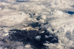 Above aerial plane view of Italian alps Stock Photography