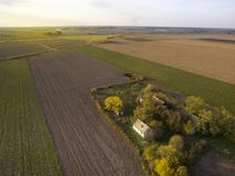 Above agricultural fields in Autumn Sunset Royalty Free Stock Photos