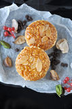 Above of Almonds Tart on Crumpled Paper Stock Photography