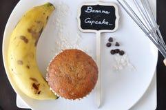 Above of Banana Cupcake with Banana and sign Stock Photos