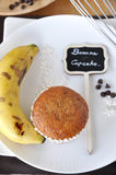 Above of Banana Cupcake on Plate Royalty Free Stock Photography