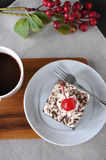 Above of Black Forest Cake on Plate Royalty Free Stock Photography