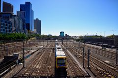 Flinders Street Station, Melbourne. Above the busy railway lines of the Flinders Street Station Royalty Free Stock Photography