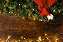 Christmas tree branches and hat Stock Image
