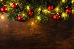 Christmas tree branches with balls Stock Image
