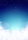 Above the clouds. Digital artwork depicting Earth's atmosphere with clouds below and stars above Royalty Free Stock Photography