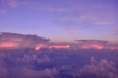 Above the clouds. View of sunset above the clouds Royalty Free Stock Images