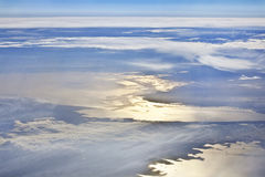 Above the Clouds. Spectacular view of a sundown above the clouds from airplane Royalty Free Stock Image