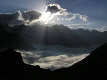 Above clouds. Mountains. Caucasus.Kabardino-Balkariya. Bezengi. Above clouds Stock Images