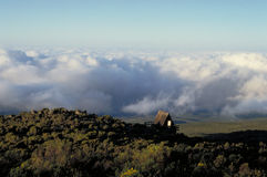 Above the Clouds. View from Horombo Huts on Mount Kilimanjaro in Tanzania Stock Photos