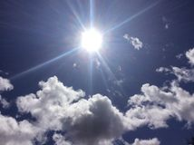 Above the clouds. A beautiful look into the sun through the clouds Royalty Free Stock Photography