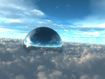 Above the Clouds City Dome. A reflective science fiction city dome above the clouds Vector Illustration