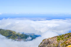Above the clouds. Cloud storm. Madeira Stock Photo