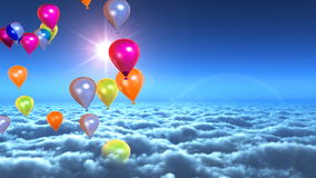 Above clouds colorful balloons flying, stock footage vector illustration