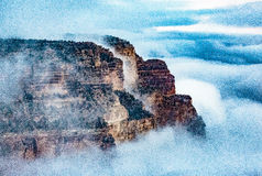 Above the Clouds @ Grand Canyon. Grand Canyon NP, Arizona, USA - December 22, 2016: Panorama of the Grand Canyon as seen from the south rim, near the El Tovar stock images