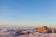Above the clouds in Lovcen National Park Stock Images