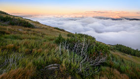 Above the clouds mountain panorama Royalty Free Stock Photography