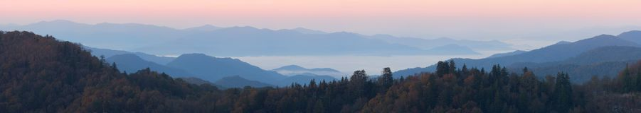 Above the clouds at Newfound Gap - panorama. Sunrise high in the mountains, clear skies above and clouds drifting beneath.  Smoky Mountains National Park, USA Stock Images