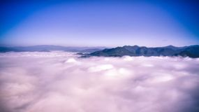 Above the clouds. Pai mountains, Thailand. November 2017 royalty free stock image