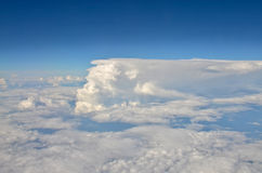 Above the clouds. The picture was taken from the side of the aircraft.Flight from Moscow to Surgut Royalty Free Stock Photo