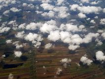 Above the clouds in the sky. View from above the clouds. Flying Royalty Free Stock Photography