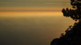 Above the clouds at sunset stock footage