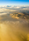 Above the clouds at sunset sunrise Royalty Free Stock Images