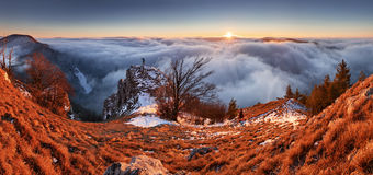Above clouds in winter - mountain landcape at sunset, Slovakia Royalty Free Stock Photos