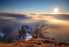 Above clouds in winter - mountain landcape at sunset, Slovakia Royalty Free Stock Image