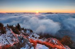 Above clouds in winter - mountain landcape at sunset, Slovakia Royalty Free Stock Photography