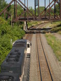 Above the Coal Train... Shot from above an eastbound coal train royalty free stock photography