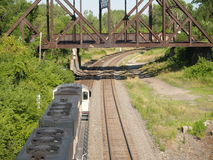 Above the Coal Train. Shot from above an eastbound coal train royalty free stock photos