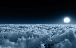 Above The Cold Clouds. Unique, high quality and high resolution rendering of high altitude sky environment with cold clouds and color scheme royalty free illustration
