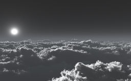 Above The Cold Clouds. Unique, high quality and high resolution rendering of high altitude sky environment with cold gray clouds and color scheme stock illustration