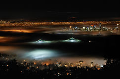 Above colorful fog. This picture was taken last winter, from Cypress Mountain on Vancouver's North Shore, looking down onto the city stock image