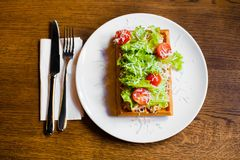 The above composition of the food. The belgian waffles with vegetables such as tomatoes, salat and cheese. stock images