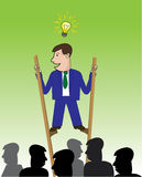 Above the crowd. Business man on stilts standing above others with light bulb above his head. Represents concept of how a bright idea can get you above the crowd Royalty Free Stock Photo