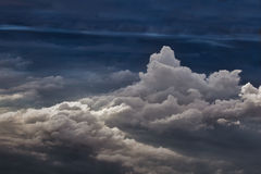 Above cumulus clouds, seen from plane Stock Images