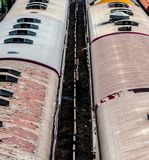 Above diesel engine trains on track ways station Royalty Free Stock Images