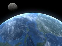 Above the Earth. A high quality 3D render of the planet earth, and the moon Stock Images