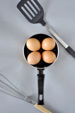 Above of Eggs in Pan Stock Photography