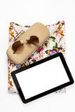 Above, empty tablet, of essentials elegant woman Royalty Free Stock Photography