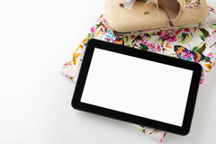 Above, empty tablet, of essentials elegant woman Royalty Free Stock Image