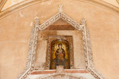 Above entrance to Palermo Cathedral. The mosaic portraying the Madonna Royalty Free Stock Image