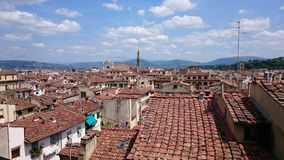 Above Florence roof tops, Italy, Basilica di Santa Croce Royalty Free Stock Image