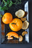 Above of Fresh Orange on Black Background Stock Photos