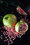 Above of Fresh Pomegranate on Black Background Stock Photography