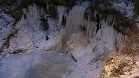 Above a Frozen Minnehaha Falls stock video
