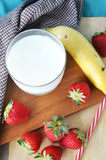 Above of Glass of Milk Royalty Free Stock Images