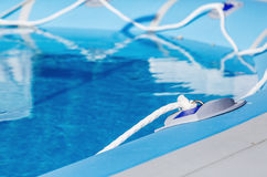 Above-ground inflatable swimming pool. Closeup Royalty Free Stock Photos